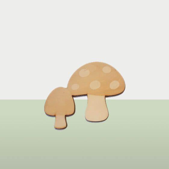 Dieren in het bos - Houten paddestoelen voor de kinderkamer