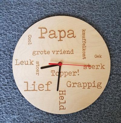 houten klok papa