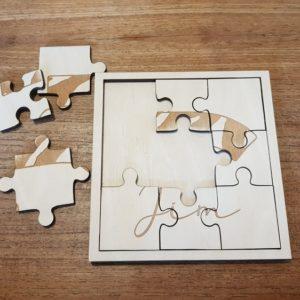 Houten puzzel 9 stukjes met naam