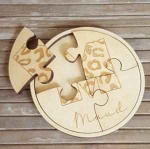 Ronde houten puzzel 4 stukjes