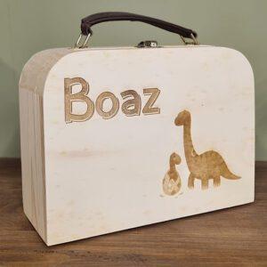 Houten koffertje met naam en afbeelding