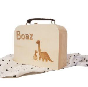 houten koffertje met leren handvat