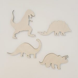 Houten wandset dinosaurus